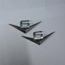 2x Chrome 6V Metal Sticker Emblem Decal Badge suv V6 Decal Turbo Engine Logo Car