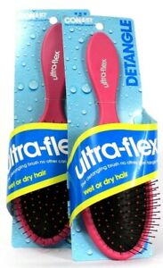 2 Ct Conair Ultra Flex Pink Detangle Wet Or Dry Hair Brush Ball Tipped Bristle