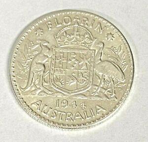 1944 Very High Grade - Silver Florin Coin ~ 92.5% Silver ~ Australia