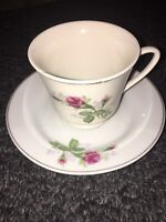 Vintage Made In China Pink Floral Tea Cup And Saucer Set