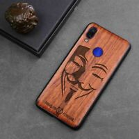 Real Wood Engrave Phone Back Case Cover Bumper for Xiaomi Redmi Note 7 Note7 Pro