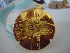 "1980 LAKE PLACID WINTER OLYMPICS ""GOLD""  MEDAL WITH DISPLAY STAND !!!"