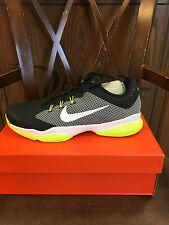 MENS NIKE AIR ZOOM ULTRA. NEW IN BOX. NIKE TENNIS SHOES. BLACK AND VOLT