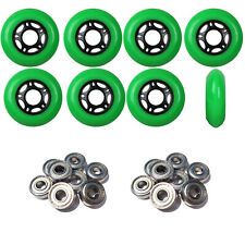 Inline Skate Wheels 76mm 89A Outdoor Green Rollerblade 8Pk with Abec 5 Bearings