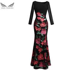 Angel-fashions Women's Long Sleeve Rose Pattern Sequin Black Formal Dress 396