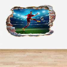 Football Soccer Player Smashed Wall Sticker 3D Decal Boys Bedroom Decor