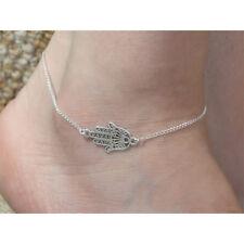 Hamsa Hand Evil Eye Fatima Silver Anklet Ankle Bracelet Dainty Chain Filigree