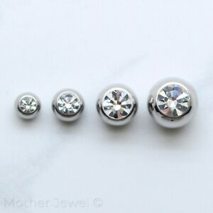SIMULATED DIAMOND SILVER 316L SS BELLY HELIX SEPTUM LABRET 14G REPLACEMENT BALL
