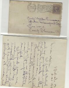 USA 1919 FANCY CANCEL FROM NEW PHILLY TO CAMP SHERMAN OH WITH LETTER