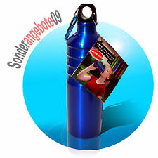 OUTDOOR Alu Trinkflasche 750ml blau Aluminium Aluflasche Sport Fahrradflasche