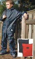 Childs Boys Girls Childrens RED or BLUE Rain Waterproof Jacket & Trouser Suit