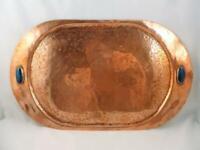 Antique Arts & Crafts / Art Nouveau Copper & Blue Metallic Cabochon Tray c1890