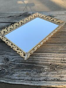 Vanity Mirror Tray Rectangle Gold tone Filigree Perfume Dresser MCM Large