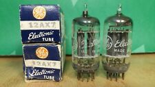 Closely Matched Pair of GE 12AX7 ECC83 Long Plate 1954 NOS NIB Vacuum Tubes