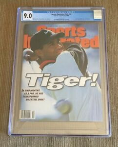 TIGER WOODS 1996 Sports Illustrated CGC 9.0 ROOKIE RC NEWSSTAND NO LABEL MINT