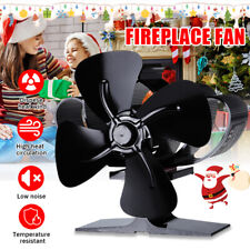 4 Blade Silent  Heat Powered Stove Fan Fireplace Wood Log Burner Eco Friendly