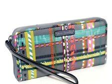 New Vera Bradley CITY PLAID Midtown RFID Wristlet zip-around wallet phone bag