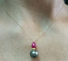 Briolette Ruby and Tahitian pearl pendant necklace solid 14k gold