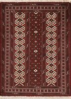 Geometric Balouch Burgundy Ivory Area Rug Wool Hand-Knotted Oriental Carpet 3x4