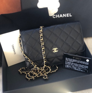 Chanel Black Caviar Leather Flap Wallet WOC Crossbody Bag on Chain Gold Hardware