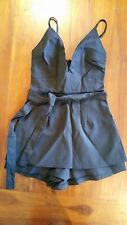 Women's Black Quality playsuit with tie belt, lined sz8 BNWOT free post E24