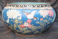 Antique Japanese Large Cloisonne Bowl Planter Cache Pot