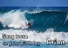 Surf Surf paisaje Wave Surfer Feliz Cumpleaños Felicitación Personalizada tarjeta de arte