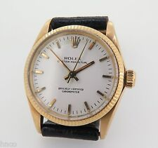 .1968 ROLEX OYSTER PERPETUAL 14k GOLD MID SIZE WRIST WATCH REF 6551