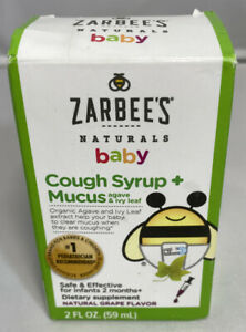 Zarbees Naturals  Baby Cough Syrup & Mucus Relief Grape Flavor 2 fl oz Exp 3/22