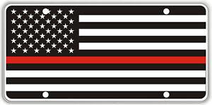 Thin Red Line over Black & White US Flag Souvenir License Plate