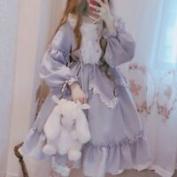 Lady Lolita Dress Lace Ruffle Long Puff Sleeve Dolly Skirt Fairy Costume kawaii