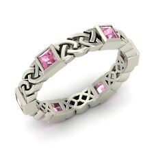 Wedding Band Ring Sterling Silver Certified Tourmaline Men's Women's Celtic Knot