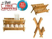 Wooden Dish Rack Plate Collapsible Compact Drying Drainer Bamboo Organizer Brown