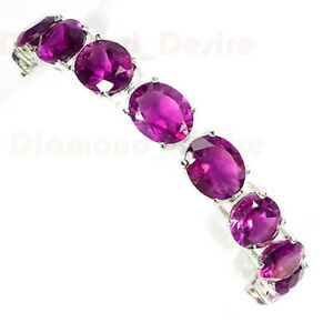 LARGE 10x12 PINK SAPPHIRE NECKLACE BRACELET EARRINGS WHITE GOLD 925 SILVER