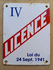 Ancienne plaque émaillée Licence IV débit de BOISSONS  - déco bar café brasserie