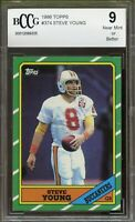 1986 Topps #374 Steve Young Rookie Card BGS BCCG 9 Near Mint+