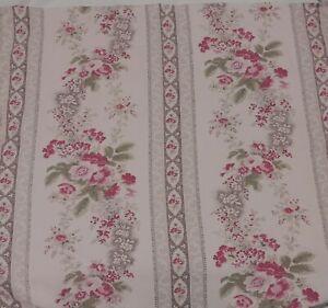 "RALPH LAUREN Pink Brown Floral Stripe 100% Cotton Fabric Shower Curtain 72""x67"""