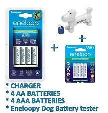 Panasonic Eneloop AA/AAA Charger + 4 AA + 4 AAA Ni-mh batteries + Dog Tester