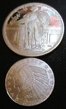 TWO ROUNDS  .999 Fine Silver: 1/4th Oz Standing Liberty & 1/10 Oz Indian