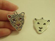 10 leopard head pendants charms Tibetan silver antique wholesale jewelry making