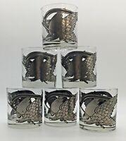 6 Vintage MCM SiLVER & Black Eagle LOWBALL TUMBLER GLASS OLD FASHIONED
