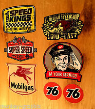 7er US Oldschool Cars Set Sticker Adesivi MOBILGAS 76 Pennzoil Rod Rockabilly