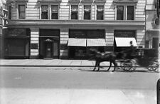 VTG 1900's GLASS  PLATE NEGATIVE OF HORSE CARRIAGE ON NEW YOK CITY STREET #4