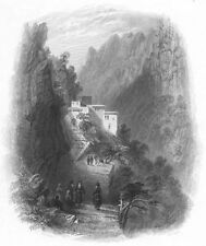 Lebanon, MONASTERY Saint Anthony of Qozhaya Maronite ~ 1836 Art Print Engraving