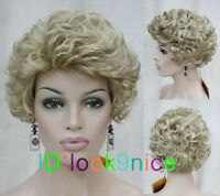 Vogue Sexy Women's Short Blonde Mixed Cosplay Party Curly Wigs Fashion Girls Wig