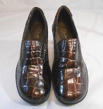CLARKS Bendables Womens Clogs Size 6 M Patent Mock Crock Block Heel Bronze