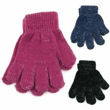 Tinsel Gloves Glitter Magic Stretch Children's Pink Blue Black Winter Warm New