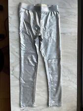 Girls Crewcuts Silver Metallic leggings 6-7 EUC