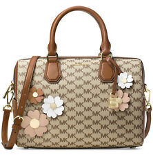 Michael Kors Flora Appliqué Mercer Medium Duffel Bag Natural Luggage 18K GP NWT