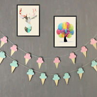 Nordic Ice Cream Wood Hanging Decor Kids Room Wooden Banner Wall Decorations 3D